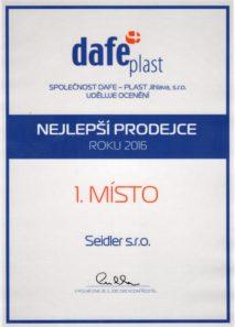 Seidler nejlepsi prodejce oken Dafeplast v ČR